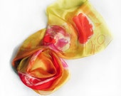 Silk Scarf Yellow red Silk Shawl hand painted Floral scarves Hand painted silk scarf Bright Abstract scarves Silk painting Holidays gift