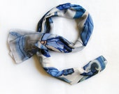Hand painted silk scarf-Dark blue grey Butterfly Hand painted silk scarf  great gift for Mother Day