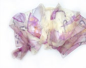 Hand painted silk chiffon scarf The pink umbrellas  Mothers day gift OOAK