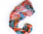 Hand painted scarf- Coral butterflies/ Silk chiffon scarf/ Blue coral scarf/ Butterfly scarf/ Unique gift for mom OOAK/ Mothers day gifts