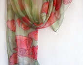 Hand painted silk chiffon scarf-The Peonies-Mothers day gift-OOAK
