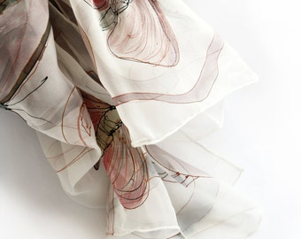 Butterfly silk scarf/ Hand painted scarves. Lightweight scarf in Pastel pink. Silk chiffon scarf/ Wedding accessory, bridesmaids gift KM17