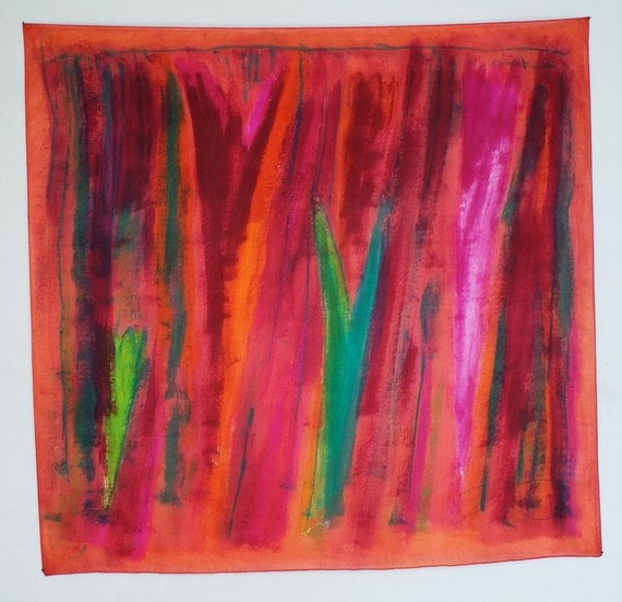 Silk scarf.Hand painted silk scarf Fiery red stripes-Abstract composition in red by Dimo-OOAK-Square silk scarf