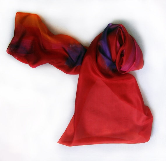 Hand painted silk scarf -Red silk scarf- Simple Red hand painted silk scarf by Dimo