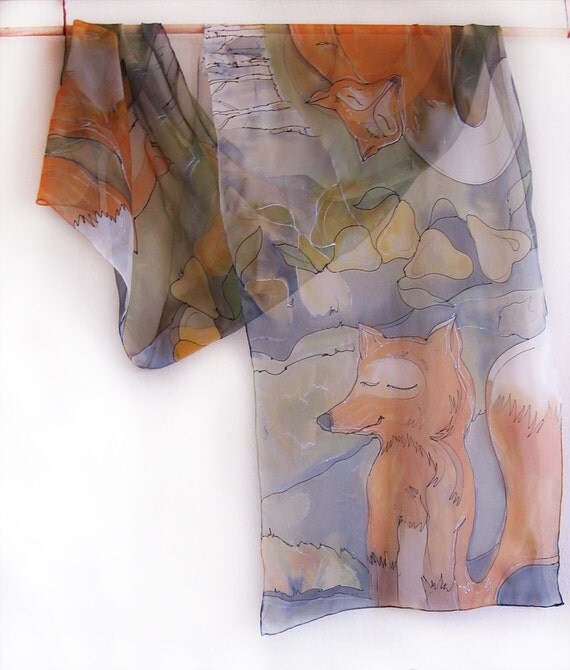 Hand painted silk chiffon scarf Tree foxes dreaming about pears,Second variant  MADE TO ORDER