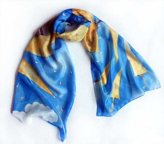 Hand painted silk scarf - The Yellow Umbrellas-Blue yellow silk scarf