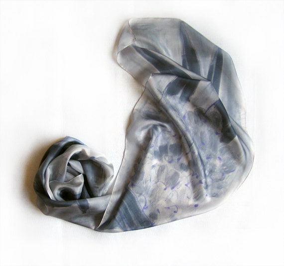 Hand painted silk scarf Grey collection A Lilac in foggy background  Mothers Day gift ideas