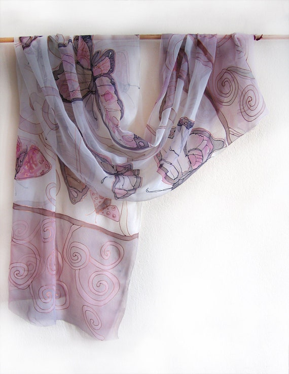 Butterfly hand painted silk scarf. Summer painted silk chiffon scarf. Silk scarf. Butterfly in pink pastels tone. Mothers day gift ooak