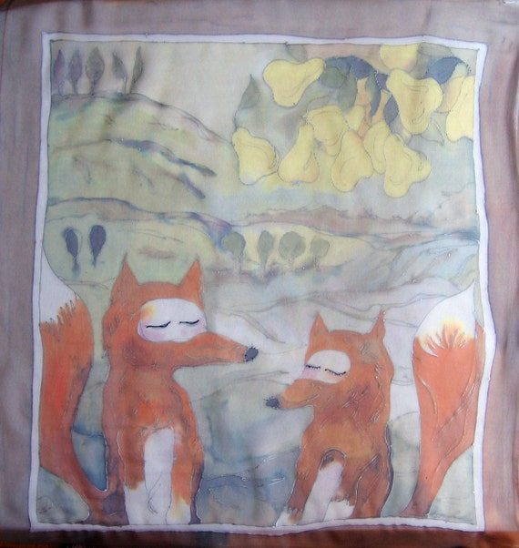 Hand painted silk The foxes dreaming about pears. Square silk chiffon scarf. Foxy scarf in autumn colors.
