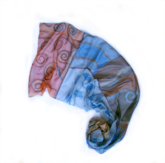 Hand painted silk chiffon scarf Decorative composition-Blue ginkgo leaves