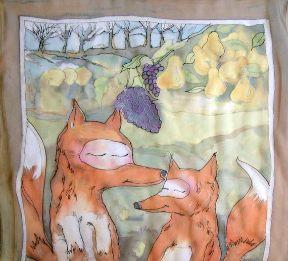 Hand painted silk scarf-Painted by hand silk scarf-A foxes dreaming about pears