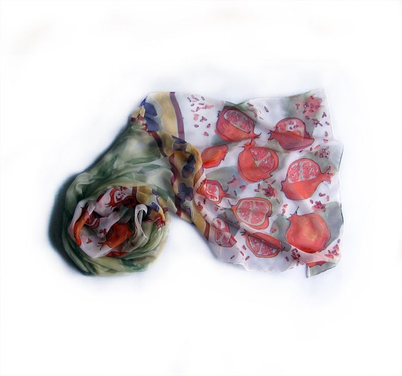 Hand painted silk scar-Pomegranates scarf painted by hand- Silk chiffon scarf painted by hand-