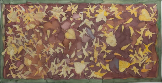 Hand painted silk scarf- Falling Leaves. Designer silk scarf/ Large brown ocher shawl. Silk painting Klaradar Fall accessories/ Gift for her