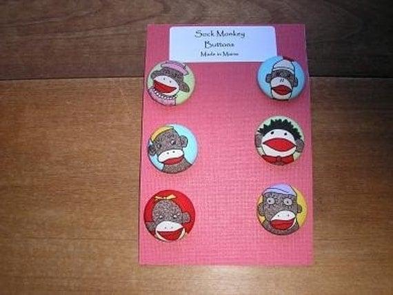 Cute Sock Monkey Buttons