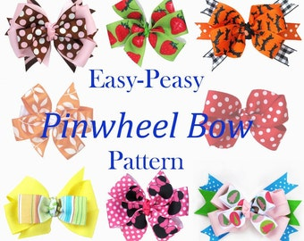 Easy Peasy Pinwheel Bow Pattern and more... IMMEDIATE DOWNLOAD pdf pattern and tutorial