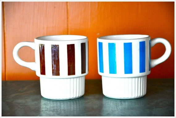 SALE Retro Stacking Mugs, Striped Blue and Brown