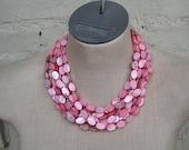 Multi Strand Pink Peach Mother-of-Pearl collar bib choker necklace Sirena Sexy