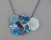 RESERVED  for JENA Blue Deer Vintage Brooch necklace Shabby Chic  Embroidery OOAK Collage Sterling Silver