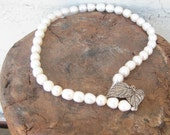 Baroque White Pearl necklace Sterling Silver Leaf  Clasp Wedding Cream