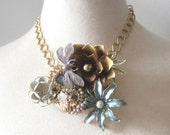 Brown Blue Grey Copper Cream Vintage brooch Collage necklace Dragonfly Assemblage Flower Power Enamel Shabby Chic OOAK