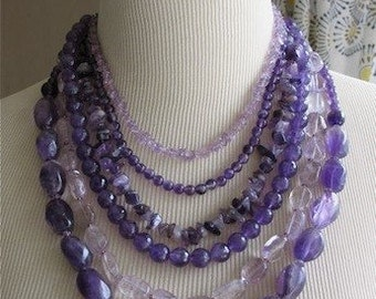 Amethyst  Dreams Purple Statement necklace Chunky Layered Beads