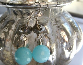Light Blue Brown Sterling Silver Dangle Beaded Earring,  Amazonite Crystal Drop
