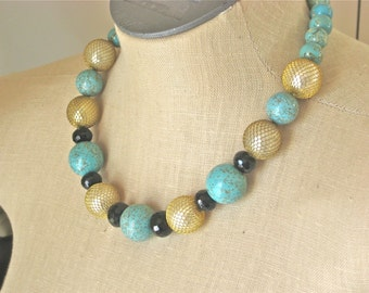 South Beach . Gold Turquoise Black Chunky Beaded Necklace