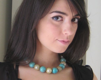 Turquoise Gold Pearl Mesh Choker Chunky Necklace Choker