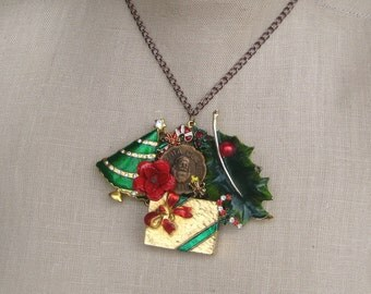 """Vintage Brooch  Collage Holiday Charm Necklace Christmas Gift Upcycled OOAK  retro """"Santa Claus Club"""""""