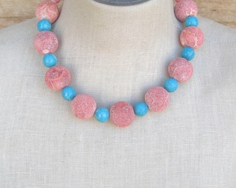 Turquoise  Sponge Coral Chunky Necklace