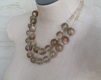 Gold Glitter Clear Crystal Beaded Quartz double strand necklace