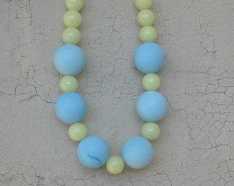Yellow Blue Turquoise Chunky Beaded Sky Blue Necklace Lemon Citrus Choker mallory