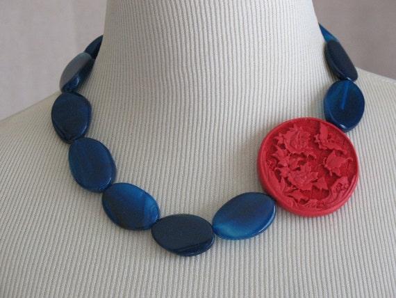 Navy Red patriotic Freedom necklace