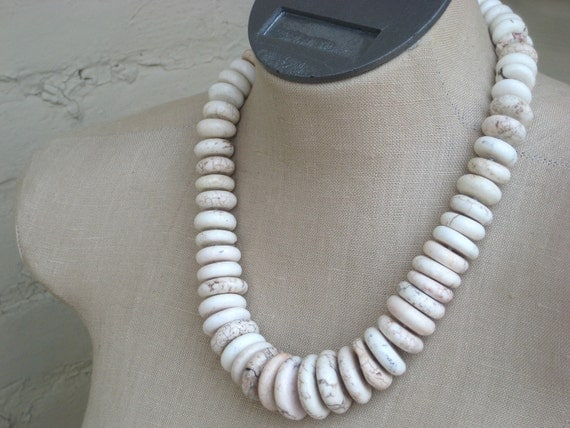 Vertebrae White Chunky Heishi  Disk Necklace Hand Knotted Turquoise