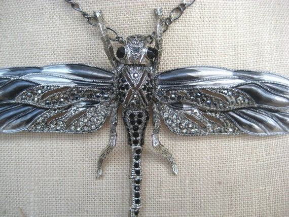 Steel Dragonfly Gunmetal  Marcasite Silver Black Statement Necklace Pin Brooch