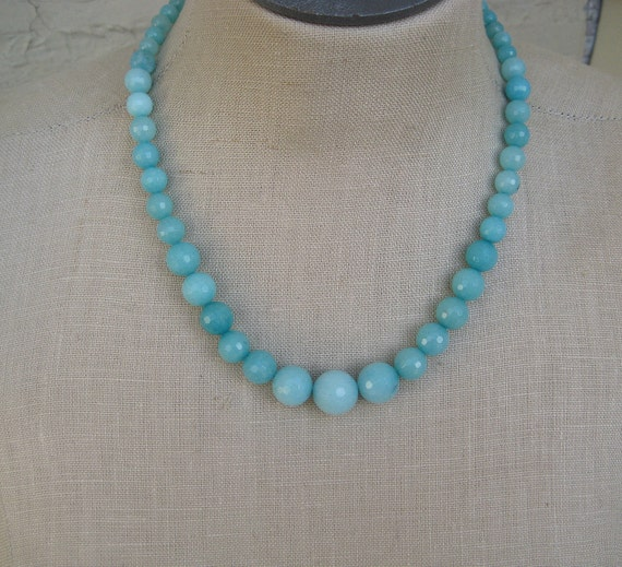 Light Blue Aqua Faceted Amazonite  Beaded Graduated Faceted Necklace