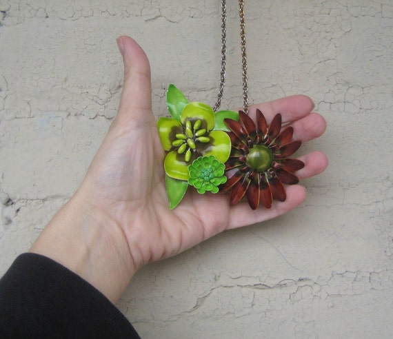 Lime Green Brown Necklace Vintage Brooch Enamel Flower Shabby Chic OOAK Collage