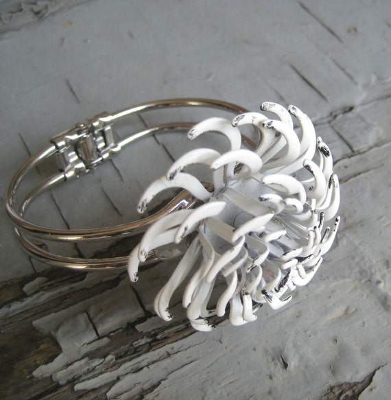 Cuff white Black Vintage Brooch Statement Bracelet Collage Upcycled Silver Mad Men Style