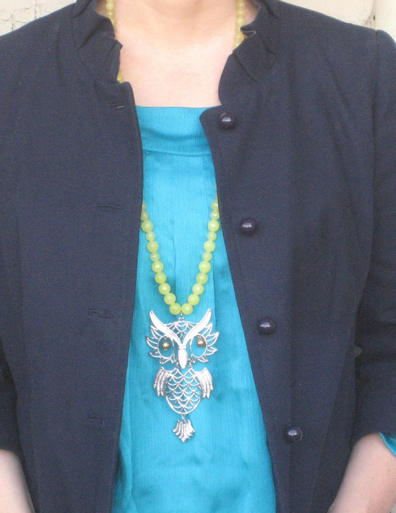 Yellow Long Vintage Silver Owl Pendant Large Beaded Necklace