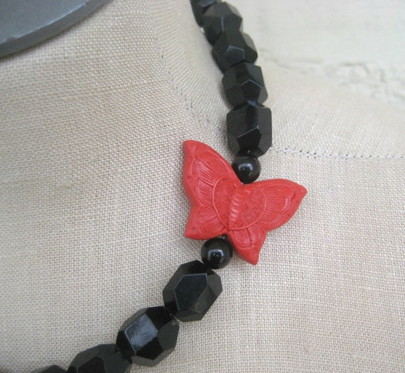 Black Red Butterfly cinnabar Chunky Necklace Statement Onyx