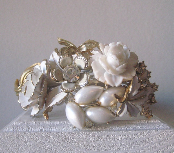 White Bridal Wrist corsage Bracelet Cuff  Vintage Brooch Collage gorgeous Prom Pearl Rose Cream Gold