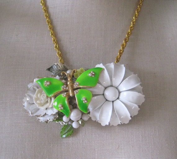 Lime White Vintage Brooch Enamel Flower power  butterfly Shabby Chic OOAK Collage necklace gold