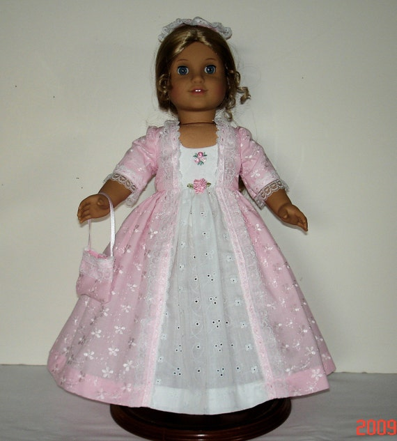 COLONIAL BALL GOWN  FITS AMERICAN GIRL DOLLS 3 PC   200