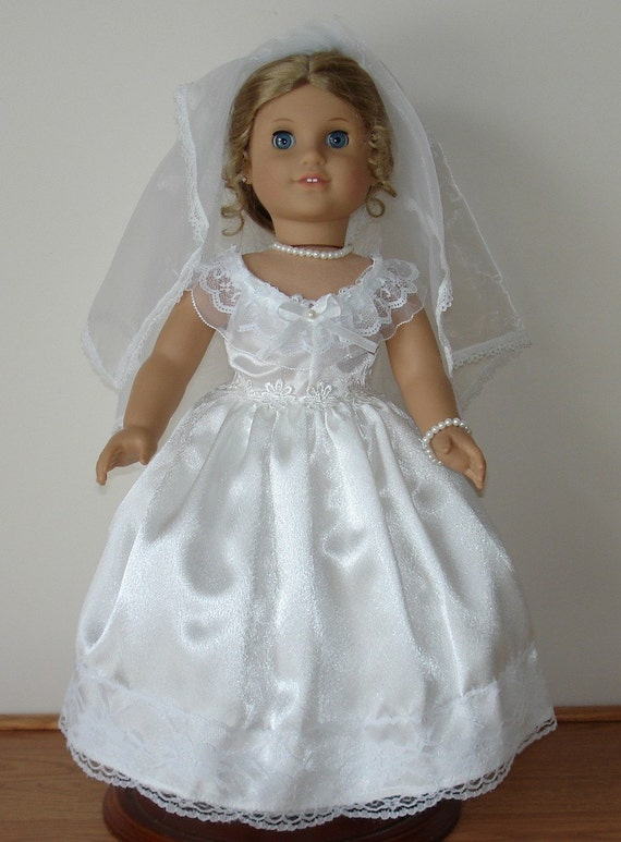 Wedding dress created for american girl dolls 5 pc no 226 for American girl wedding dress