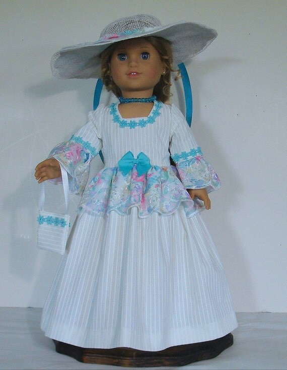 Afternoon Tea dress designed for American Girl Doll Elizabeth or Felicity  4 pc. No. 475