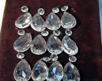 Lot of 12 Large Tear Drop Crystals