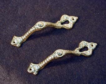 Pair of Fancy Cast Brass Door Handles