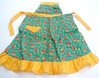 Green and Orange Flowered Apron with Yellow Trim