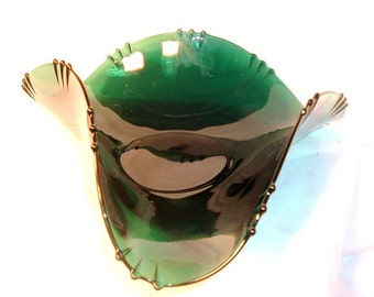 Vintage Emerald Green Serving Bowl
