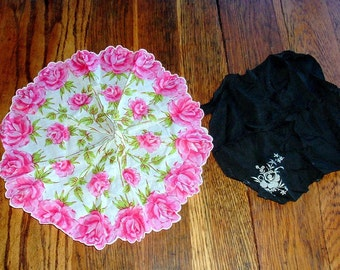 Round Flowered And Black Morning Embroidered Handkerchiefs